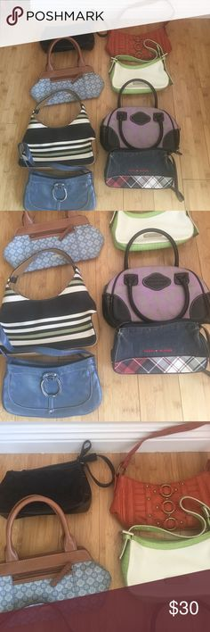 Small bags In mid/conditions but working. It's 8 mini bag 2 are Victoria's Secret, 1 Tommy Hilfiger, 2 xoxo, 2 Nine West, 1 guess Different Brands Bags Mini Bags