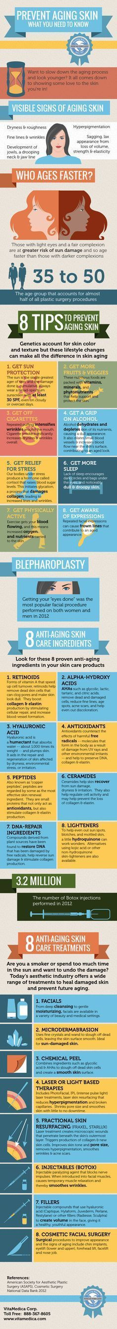 Prevent Aging Skin – What You Need to Know.......What to slow down the aging process? Then, follow these 8 dietary & lifestyle tips and make sure that your skin care products contain these anti-aging ingredients. Consider a skin care treatment to address hyperpigmentation or cosmetic treatment to fix fine lines, wrinkles & more.