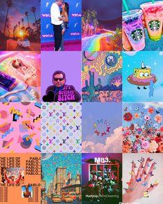 Wall Collage Decor, Bedroom Wall Collage, Photo Wall Collage, Picture Collages, Indie Room Decor, Aesthetic Room Decor, Aesthetic Collage, Rainbow Wallpaper, Retro Wallpaper