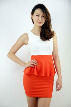 Sterling style peplum dress in Orange