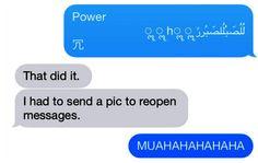 Captura de mensaje con el mensaje que provoca el reinicio del iPhone