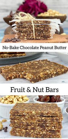 These simple, no-bake chewy chocolate peanut butter fruit and nut bars are made with only 3- ingredients and provide a quick snack for any time of day. (250 calories, 4 grams of fiber, 5 grams of protein, 11 grams of fat and even contribute some iron and potassium to your diet.) #EnergyBar #Fitness #Nutrition #QuickSnack #FruitAndNutBars #Fitness #EasyRecipes Healthy Baby Food, Healthy Baking, Healthy Snacks, 21 Day Fix Snacks, Quick Snacks, Baking Recipes, Snack Recipes, Dessert Recipes, Fruit And Nut Bars