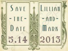 Wedding Save the Date Postcard Design - Art Nouveau Frame : cyanandsepia.etsy.com