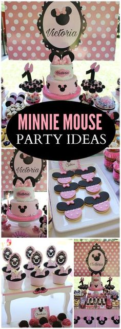 Such a pretty pink Minnie Mouse birthday party! See more party ideas at CatchMyParty.com!