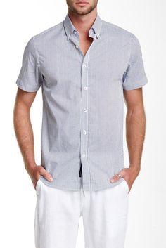 Short Sleeve Anchor Print Modern Fit Sport Shirt