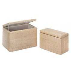 """by Accent Plus Natural rush straw is woven with precision to create this two-piece set of nesting storage trunks. They have a rectangular wooden frame and cotton inner lining. You'll love their functionality and their beauty!  Large: 23 1/4"""" x 14 1/4"""" x 15 1/2"""" high; small: 19 1/4"""" x 10 1/4"""" x 13"""" high.  allgooddecor.com  #allgooddecor #furniture #accents #decor #gifts #decorations #lighting #candles #mirrors #figurines #fountains #outdoor #toys"""