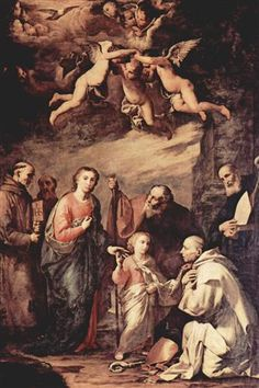 Holy Family with St. Bruno, the Carthusian monks, saints who left St. Bernard of Siena, St. Bonaventure and St. Elias c.1635 - Jusepe de Ribera