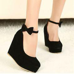 Beautiful Black Round Closed Toe Suede Super High Heel Wedges