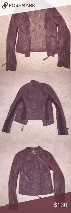 Free People Wine Leather Jacket NEVER BEEN WORN! It's a little too small for me but it's is an AMAZING jacket!! Brand new, size 0, wine color. Free People jacket, can be washed. FAUX LEATHER. Perfect for a holiday gift! Free People Jackets & Coats