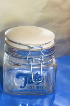 TALA Glass Jar Blue Writing c1960s Mid Century Kitchen Collectable. Retro Kitchen Style by AtticBazaar on Etsy