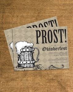 PRINTABLE Oktoberfest Party Invitation - Any Color - Any Text. $15.00, via Etsy.