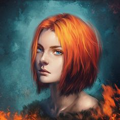 Orange hair bob