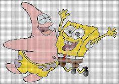 Una Locura de ideas !!!  de punto de cruz: Bob Esponja y Patricio en punto de cruz,  esquema....
