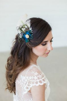 Peacock Feather Bridal Headpiece