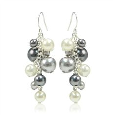 Gray, Cream, and Black Pearl Cluster Earrings