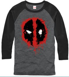 Officially Licensed Merchandise Deadpool Splatter shirt - Mens 3/4 sleeve Tshirt is Designed & Printed in the USA. We use only the best name brand shirts. Pre-Shrunk, 100% Cotton. Superb Quality and F