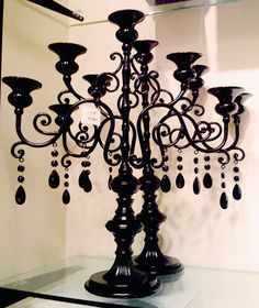 Black Candelabra Centerpieces from Michaels