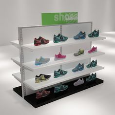 White Wall Mounted Display Shelves Decoration For Shoe Store - Boutique Store Fixtures Manufacuring, Retail Shop Fitting Display Furniture Supply Wood Display Stand, Shoe Display, Display Shelves, Display Ideas, Shoe Shelves, Small Shelves, Farming, Shoe Store Design, Standing Shelves