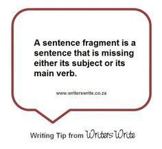 Sentence fragment definition.