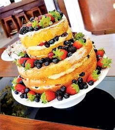 Bolo Minnie, Naked Cake, Pasta, Tropical Party, Fruit Salad, Cheesecake, Chocolate, Birthday, Desserts