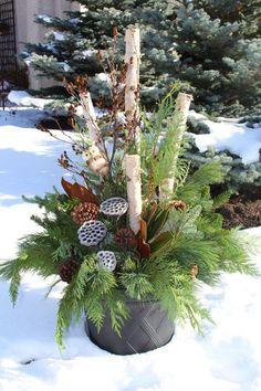 Outdoor Christmas Planters, Outside Christmas Decorations, Christmas Porch, Winter Christmas, Outdoor Planters, Diy Planters, Outdoor Decorations, Thanksgiving Holiday, Christmas Offers