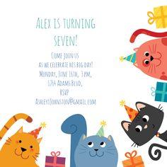 Customize, add text and photos. Print for free! Free Party Invitation Templates, Free Printable Birthday Invitations, Birthday Card Template, Kids Birthday Party Invitations, Invitation Ideas, Invites, Impreza, Cat Birthday, Birthday Ideas