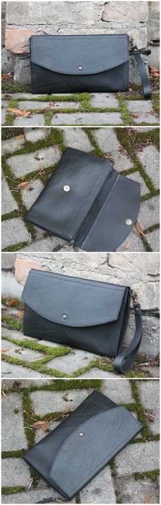 Black Leather Clutch, Leather Clutch, Black Clutch, Leather Wristlet, Leather Purse, Leather Envelope Bag, Evening Bag, Envelope Clutch zoom Request a custom order and have something made just for you. Details Handmade black leather clutch crafted from the thick highest quality top grain leather. This black clutch is perfect for day or evening accessory with a leather strap to keep it safely on your wrist. It's spacious enough for your phone, wallet, keys, lipstick and more! Give your