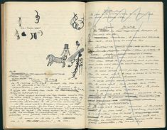 The first notebook of Watt signed and marked 'Watt I,' with the following note: 'Watt was written in France during the war 1940-45 and published in 1953 by the Olympia Press.' On an inserted sheet, Beckett has written, 'Begun evening of Tuesday 11/2/41.'  Via   http://www.brainpickings.org/index.php/2012/01/05/samuel-beckett-notebooks/