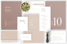 This Printable Minimal Brown Wedding Suite Editable PSD File for Instant Download features a minimalistic design of softs brown shades along with a modern font script. It is a modern and elegant wedding stationery suite including, Save the Date Card, Details enclosure, RSVP, Wishing Well Card, Thank You Card, Table Numbers, Place Cards, and a Wedding Menu. Fully editable files that you can edit and print. Amazing invitation set for a fall wedding