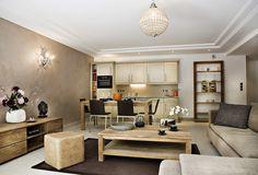 salon et cuisine moderne couleurs taupe beige et blanc luxe design