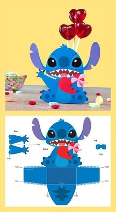 Stitch is the most adorable alien you'll ever find, so this Valentine's Day, share him with someone you think is out of this world! Disney Diy, Disney Crafts, Baby Disney, Disney Candy, Disney Stitch, Lilo En Stitch, Disney Valentines, Valentine Day Boxes, Paper Toys