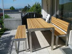 Gartenmöbel Edelstahl Lärche :Tisch 76x200cm,1 Bank mit Lehne, 1Bank ohne Lehne | eBay Wood Furniture, Outdoor Furniture, Outdoor Decor, Build A Picnic Table, Beer Garden, Bar, Exterior, Building, Balcony Ideas