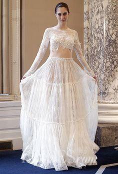 Tendance Robe du mariée  2017/2018  A crop top Christos Costarellos wedding dress | Brides.com