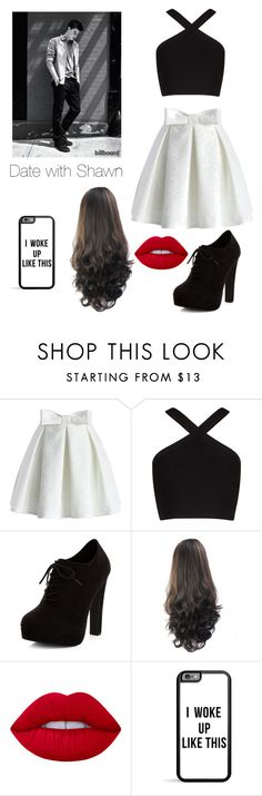 """""""Date with Shawn Mendes"""" by be-robinson ❤ liked on Polyvore featuring Chicwish, BCBGMAXAZRIA, New Look and Lime Crime"""