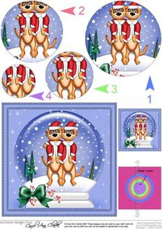 Xmas Meerkats Snowglobe Circle Pyramage Topper on Craftsuprint - Add To Basket!