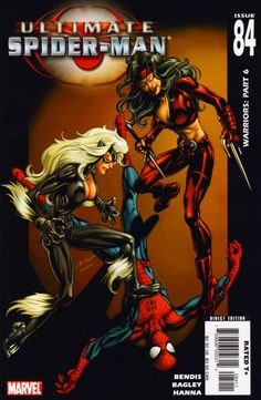 Ultimate Spider-Man Cover: Spider-Man, Black Cat and Elektra by Pasqual Ferry Marvel Comics Poster - 61 x 91 cm Marvel Comic Character, Marvel Comic Books, Comic Book Heroes, Comic Books Art, Comic Art, Marvel Comics, Detective, Spiderman Black Cat, Daredevil Elektra