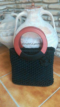 bolso de trapillo realizado a crochet