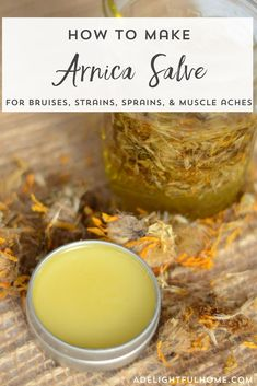 Homemade Arnica Salve Recipe - this easy DIY salve is the perfect herbal remedy for bruises strains sprains and muscle aches. Homemade Arnica Salve Recipe - this easy DIY salve is the perfect herbal remedy for bruises strains sprains and muscle aches. Natural Health Remedies, Natural Cures, Natural Healing, Herbal Remedies, Natural Treatments, Natural Foods, Holistic Healing, Holistic Remedies, Cold Remedies