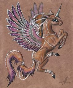 Winged one Materials used: brown paper, watercolour pencils without water, as usual XD , white and golden gel ink pen, grey PITT artist pen. Fantasy Drawings, Fantasy Artwork, Cool Drawings, Mythological Creatures, Fantasy Creatures, Mythical Creatures, Zantangle Art, Dragons, Unicorn Art