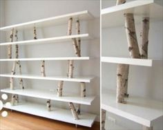Extravagant Tree Branches Birch Bark Wooden Shelves