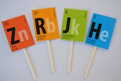 Periodic Table Scientist Cupcake toppers PRINTED by BsquaredDesign, $13.50