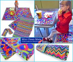 Laminated+Cotton+Mini+Clean+Mats via Sew4 Home - portable placemats that easily wipe clean!