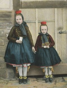 Schwalm-Hessen, Germany. Children. Traditional Costumes