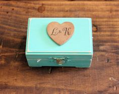 personlized teal blue wedding ring bearer box . soul mates wedding heart keepsake box . rustic distressed wooden wedding box