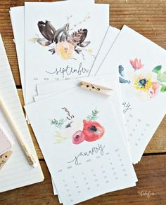 Free Printable Watercolor 2016 Desk Calendar, from MyFabulessLife.com.