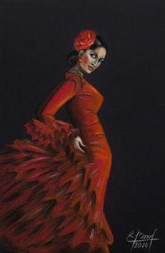 The original portrait of flamenco dancer. by BASTET11HandMade