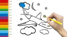 Airplane Coloring Page For KID And Learning How To Draw