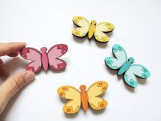 Magnets Set of 4 wooden magnetscolorful by Shellyka on Etsy, $12.00