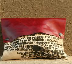 Clutch Handbag / Edgy Pouch Bags / red leather / Text by artlab