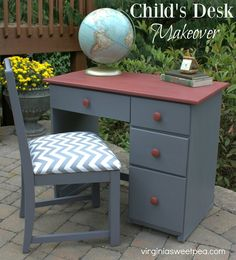 Child's Desk Makeover by virginiasweetpea.com | #InspirationSpotlight